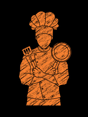 Chef cook standing crossed arms with pan and spatula designed using grunge brush graphic vector Illustration