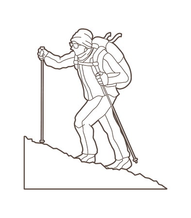 A man hiking on the mountain outline graphic vector