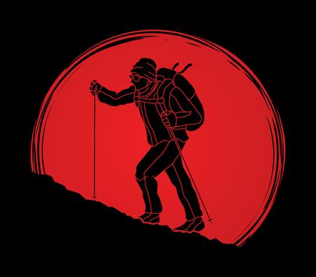 햇빛 배경 그래픽 벡터에서 설계 된 산에 하이킹하는 남자