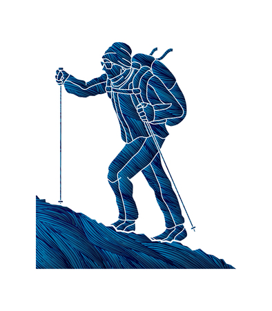 A man hiking on the mountain designed using grunge brush graphic vector