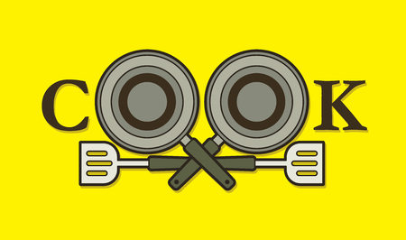 gastronome: Cook font design with pan and spatula graphic vector