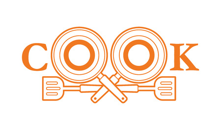Cook font design with pan and spatula outline graphic vector