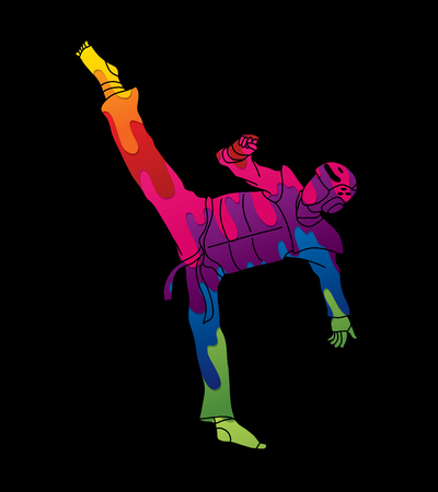 Taekwondo high kick action with guard equipment designed using melting colors graphic vector. Illustration