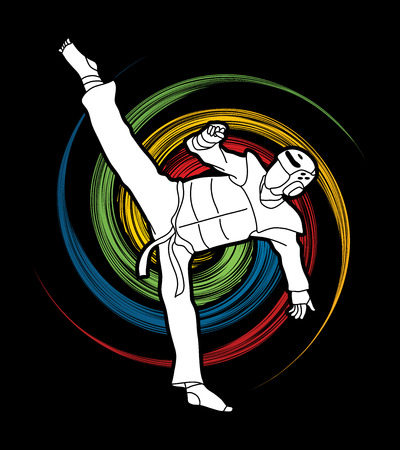 Taekwondo high kick action with guard equipment designed on spin wheel background graphic vector.