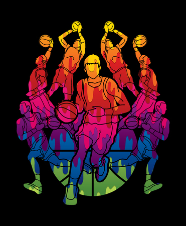 Basketball Team player dunking dripping ball action designed using melting colors graphic vector