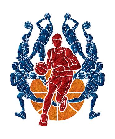 Acción del equipo de baloncesto diseñado usando el vector gráfico del cepillo del grunge Ilustración de vector