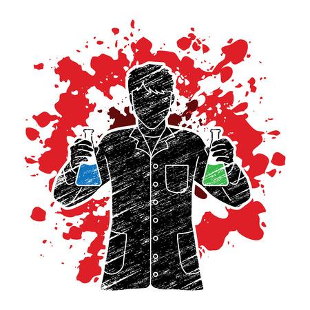 Scientist with flask on splash ink design graphic vector