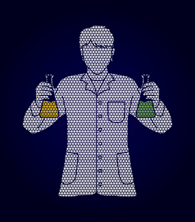 Scientist with flask chemical designed using geometric pattern graphic vector Illustration