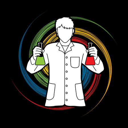 Scientist with flask chemical designed on spin wheel background graphic vector