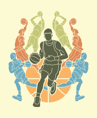 Basketball Team player dunking dripping ball action graphic vector Illustration