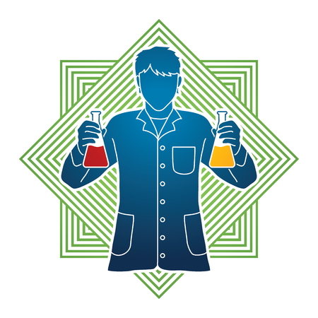 Scientist with flask chemical designed on modern square background graphic vector