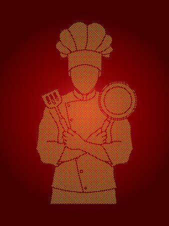 Chef cook standing crossed arms with pan and spatula designed using dots pixels graphic vector.