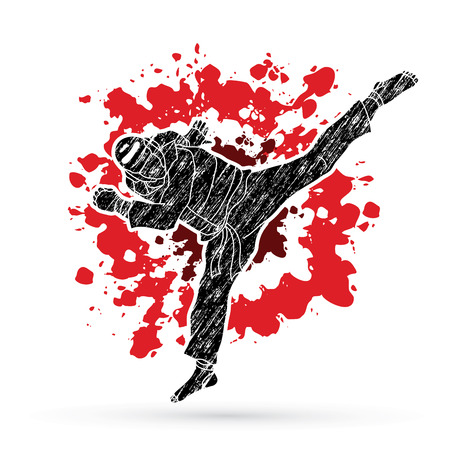 Taekwondo jump kick action with guard equipment designed on splatter blood background graphic vector. Illustration