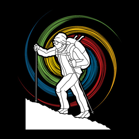 A man hiking on the mountain designed on spin wheel background graphic vector