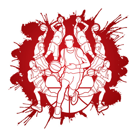 Basketball Team player dunking dripping ball action designed on splatter blood background graphic vector