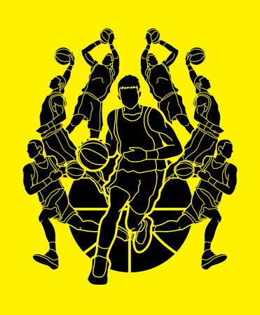 Baloncesto Equipo jugador dunking goteo bola acción gráfico vectorial