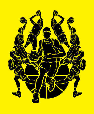 Basketball Team player dunking dripping ball action graphic vector Vettoriali