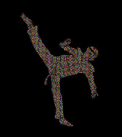 Taekwondo kick action with guard equipment designed using colorful mosaic pattern graphic vector.