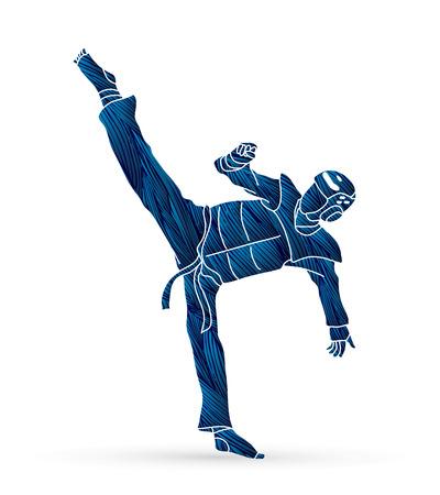 Taekwondo kick action with guard equipment designed using blue grunge brush graphic vector.