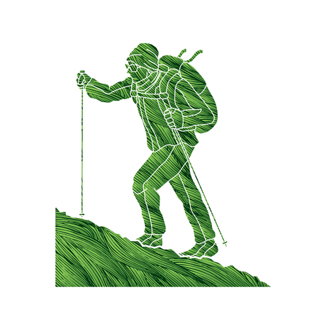 rucksack: A man hiking on the mountain designed using green grunge brush graphic vector