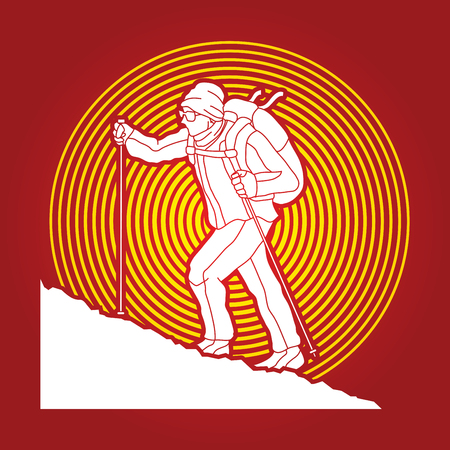 A man hiking on the mountain designed on sunlight background graphic vector