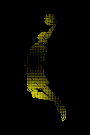 Basketball player dunking designed using dots pixels graphic vector