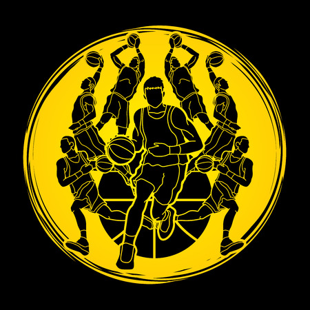 Basketball Team player dunking dripping ball action designed on grunge circle background graphic vector