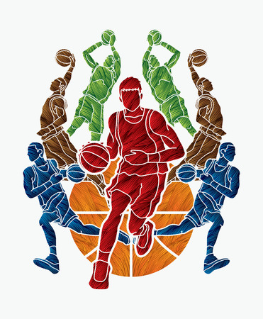 Basketball Team player dunking dripping ball action designed using colorful grunge brush graphic vector