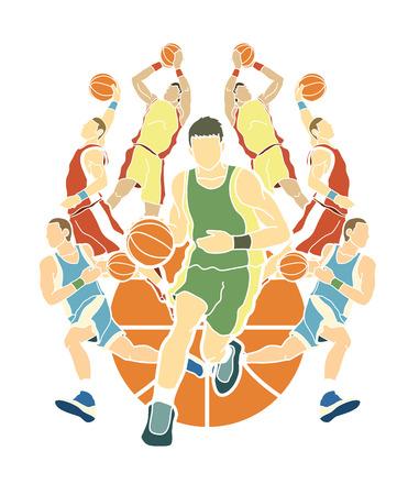 equipo de baloncesto jugador de baloncesto robar la acción de la acción gráfico vector
