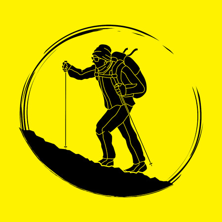 A man hiking on the mountain graphic vector