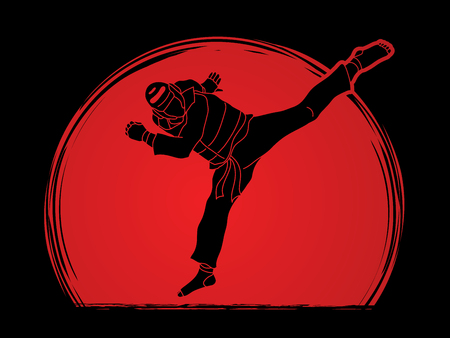 Taekwondo jump kick action with guard equipment designed on sunlight background graphic vector.