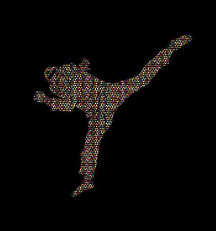 Taekwondo jump kick action with guard equipment designed using geometric pattern graphic vector.