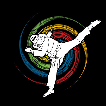 Taekwondo jump kick action with guard equipment designed on spin wheel background graphic vector. Çizim