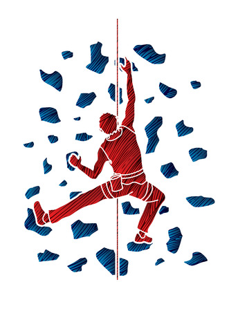 sports equipment: Man climbing on the wall , Hiking indoor designed using grunge brush graphic vector.