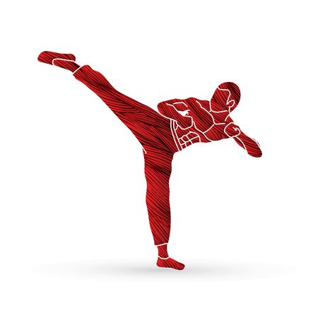 Kung fu, Karate kick designed using grunge brush graphic vector.