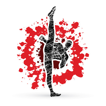 Kung fu, Karate high kick front view designed on splatter blood graphic vector. Illustration