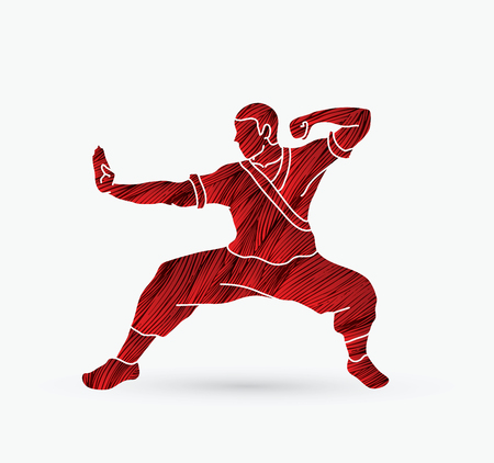 guy standing: Kung fu action ready to fight designed using grunge brush graphic vector.