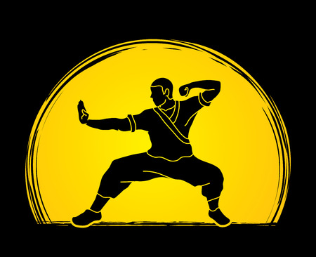 Kung fu action ready to fight designed on sunset background graphic vector.
