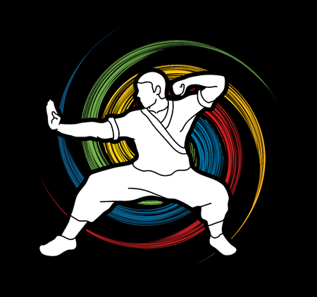 Kung fu action ready to fight designed on spin wheel background graphic vector.