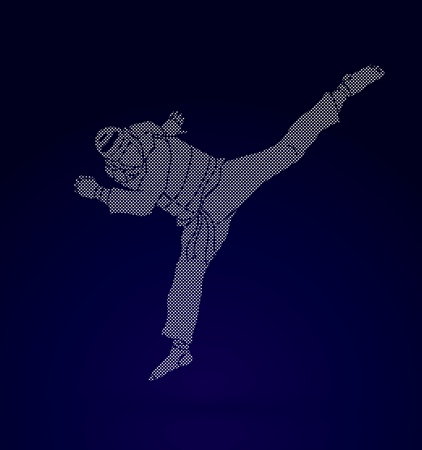 warriors: Taekwondo jump kick action with guard equipment designed using dots pixels graphic vector. Illustration