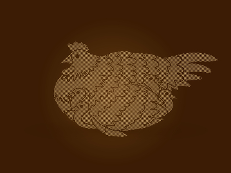 Hen with chicken designed using dots pixels graphic vector.