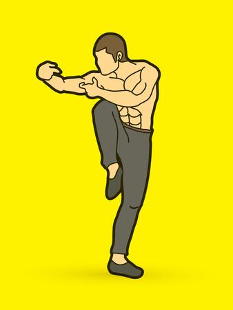 Drunken Kung fu pose graphic vector.