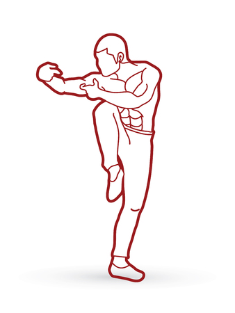 wushu: Drunken Kung fu pose outline graphic vector.