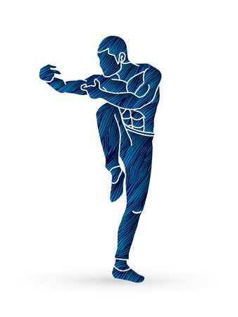 Drunken Kung fu pose designed using blue grunge brush graphic vector.