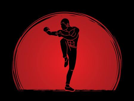 Drunken actitud de Kung Fu diseñado en el atardecer de fondo gráfico vectorial. Ilustración de vector