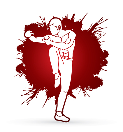 guy standing: Drunken Kung fu pose designed on splatter blood background graphic vector. Illustration