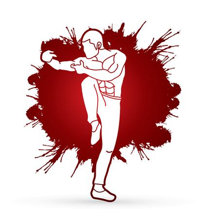 Drunken Kung fu pose designed on splatter blood background graphic vector. Illustration