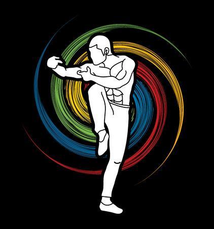 Drunken Kung fu pose designed on spin wheel background graphic vector.
