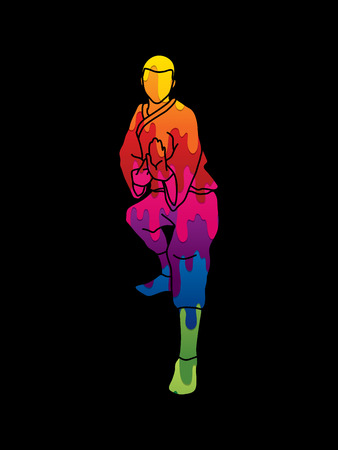 guy standing: Kung fu action ready to fight front view designed using melting colors graphic vector.