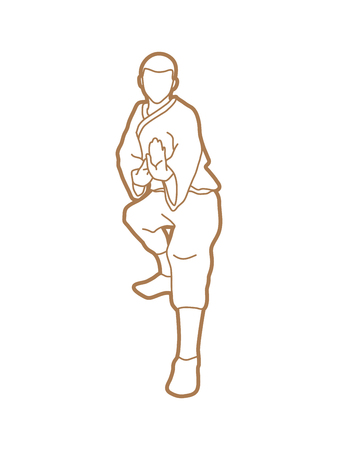 Kung fu action ready to fight front view designed using outline graphic vector.